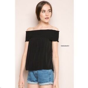John Galt black off the shoulder smocked top